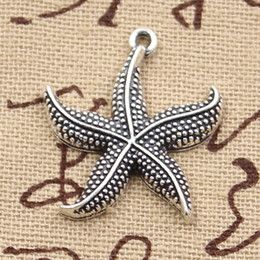 80 pieces Charms starfish 24mm Antique,Zinc alloy pendant fit,Vintage Tibetan Silver,DIY for bracelet necklace