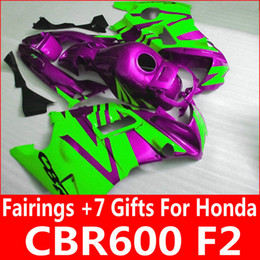 Customize purple green bodykit for Honda fairing parts CBR600 F2 1991 1992 1993 1994 CBR 600 F2 fairings kit 91 92 93 94