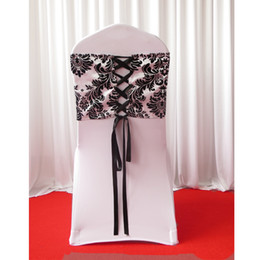 Wholesale 28cm cm White Black Flocking Taffeta Chair Cover Sash With Tie Backs Elegance Damask Corset Chair Sash