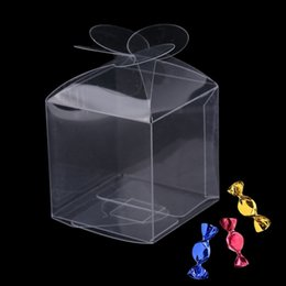 Wholesale Clear Wedding Favour Box - 50pcs pack Wedding Petal Candy Box Chocolate Gift Box Party Favour Box Clear PVC Free Shipping