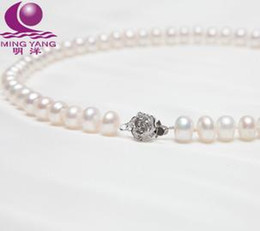 Free shipping wholesale beautiful pearl necklace Ming Yang 8-9mm nearly round natural pearl necklace 925 silver