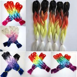 Kanekalon synthetic braiding hair Crochet Braids twist 24inch four tone color xpression Jumbo Braiding hair extensions