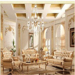 Continental Pastoral Sofa leather Sofa French champagne new solid wood living room furniture