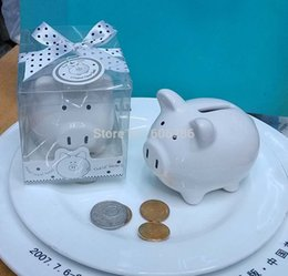 Wholesale Ceramic Baby Favors Wholesale - Christening Gifts Ceramic Mini Piggy Bank Coin Box with Polka-Dot Bow Souvenirs Baby Shower Party Favors 80pcs LOT