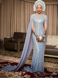 Silver Lace Africa Evening Dresses With Chiffon Sleeves Sheath Floor Length Formal Aso Ebi Evening Gowns Custom made Prom Dresses