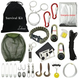 Wholesale The new outdoor survival tool Multi purpose emergency kit compass flint whistle for field trips Fishing adventure