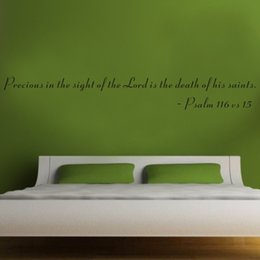 Wholesale christian Bible Wall Quote Removable Vinyl Decal Stickers Precious in the Sight of the Lord Is the Death of His Saints
