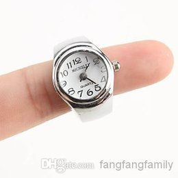 Wholesale-Wholesale - 10pcs girls cute finger watch Women's Stylish Alloy Analog Quartz Ring Watch