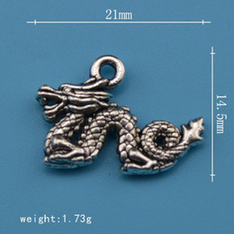 50pcs alloy dragon animal charms 2 sides
