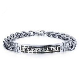 316L stainless steel great wall pattern charm bracelet men's link chain bracelet jewelry