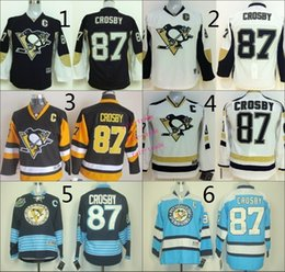 Wholesale Sidney Crosby Cheap Youth Ice Hockey Jerseys Kids Boys Stitched Jersey Size S M L XL