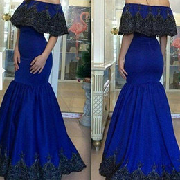 Modern Royal Blue Evening Dresses Gowns Off Shoulder 2015 Mermaid Prom Applique Short Sleeve Floor Length Formal Party Dress Dubai Trendy