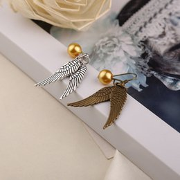 Wholesale Harry Potter Earrings Golden Snitch Earrings Antique Bronze Silver Wings for Women statement jewelry match Golden Snitch necklace