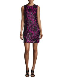 Lace Embroidery Women Sheath Dress Round Neck Mini Dresses 121586