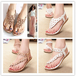 Wholesale 2014 bohemia sandals for women summer shoes women flip beaded flower flip flop flat sandals