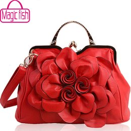 Wholesale-Magic fish! women handbag for women bags leather handbags brands women's pouch bolsas national style flower bag clutch LS4996mf