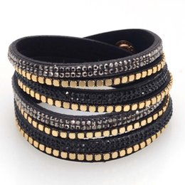Wholesale-Double wrap bracelet with crystal and metal bracelets,double wrapped bracelets bling full crystal and punk style
