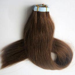 100g 40pcs Glue Tape Hair Extensions Brazilian Indian Remy Human Hair 18 20 22 24inch #6 Medium Brown Skin Weft Hair