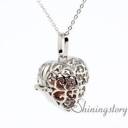 heart openwork essential oil necklace diffuser pendants wholesale diffuser jewelry aromatherapy pendant lava volcanic stone metal