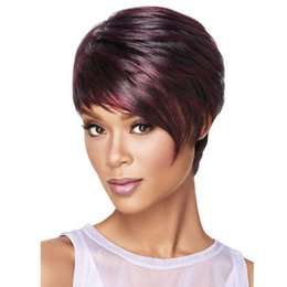 Wholesale good quality women red wine short wig ombre burgundy wigs cheap african american curly synthetic wigs cosplay wig heat resistant