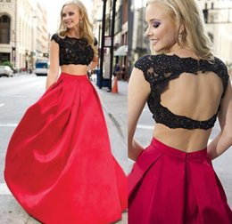 2 PCs Black and Red Prom Dresses Backless Cap Sleeve Beaded Lace Satin Sexy Style 2019 Hot Selling Party Gowns Custom Made