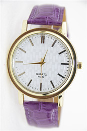 Wholesale-New ladies watches for women PU belt fashion watch wholesale 7 color choices simple women watches