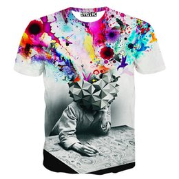 Wholesale T Shirts Men New Fashion The Thinker Printing Abstract Unisex Men Casual D T Shirt Harajuku Cotton Top Tee Brand Clothing M XL