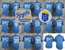 Wholesale Kansas City Royals Jersey Brett Lorenzo Cain Bo Jackson Eric Hosmer Baby Blue th World Series Baseball Jersey