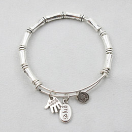 Wholesale Alex And Ani Stainless Steel Expandable Wire Bangle Alloy Bamboo Beaded Lady Bangles Drop Shipping AAB009