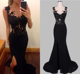 Black Sexy Split Evening Dresses Mermaid Sheer Scoop Appliques Backless Side Slit Chiffon Long Women Formal Party Dresses Prom Gowns