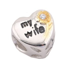 Sterling Silver Charms 925 Ale MY WIFE Heart European Charms for Pandora Bracelets DIY Beads Accessories Gift for Wife