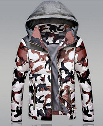 Men's fashion warm winter combination of cultivate one's morality even cap white duck down cotton-padded jacket down jacket coat. M - 3xl