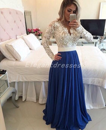 New 2018 Embellished Beaded Lace Chiffon Long Sleeve Evening Dresses Formal Special Occasion Dress See Through Sexy