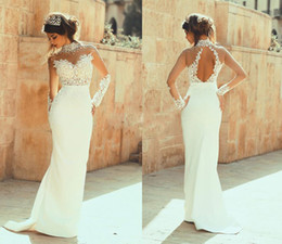 2016 High Collar Lace Sheath Wedding Dresses Long Sleeves Open Back Crystal Beaded Wedding Gowns Custom Made Appliqued Pearls Bridal Dress