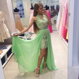 Sexy Mini Prom Dresses High Neck Ruched Beading With Chiffon Train Sheath lace Appliques Party Dress Custom made