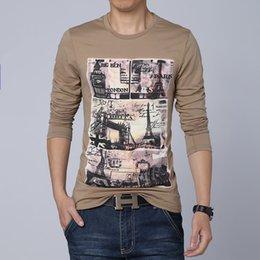 Wholesale Hot sale mens casual tshirt fashion architectural printing t shirt men long sleeve cotton camisetas high quality size M XL
