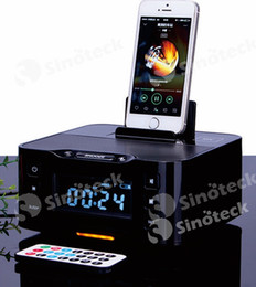 Wholesale Multifunctional Bluetooth Speaker Dock with Charging Interface FM Radio Alarm Stereo Speaker for iPhone S Android Free DHL Factory Direct