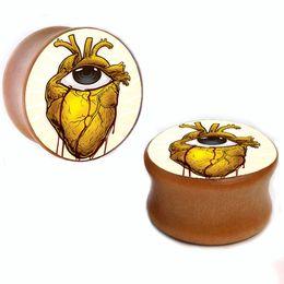 Wholesale 8mm-25mm heart eyes wood plug gauges flesh tunnel saddle ear plugs ear expander WSP003