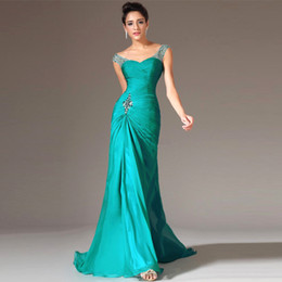 Wholesale Best Selling Sheer Neck Mermaid Floor Length Turquoise Chiffon Cap Sleeve Prom Dresses Beaded Pleats Prom Gowns Formal Evening Dresses