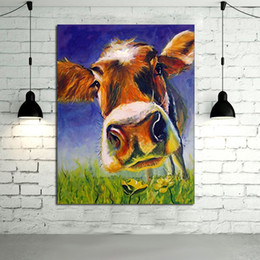 Wholesale 100 Handpainted Oil Painting Canvas Adorable Cow Wall Art Modern Abstract Animal Art Picture on Canvas Home Decor No Frame