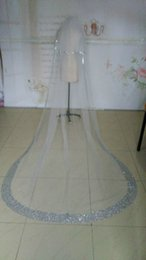 Real Image Sparkly Two Layers Beaded Bridal Veils With Rhinestones Edge Chapel Length Tulle Wedding Veil