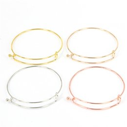 Wholesale Silver Tone Copper Expandable Wire Bangle Bracelet Diameter cm For Beading Or Charm Alex And Ani