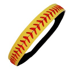 Wholesale 2015 hot selling Softball Headband Yellow Leather Red Lace Seam Fast Pitch avail