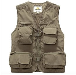 Fall- Tactical Hunting Vest Mens Work Vest Multi Pocket Photography Quick-drying Outdoor Waistcoat High Quality Army Green