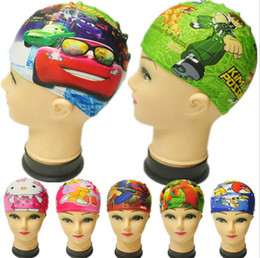 Wholesale Cartoon Cute Children Swimming Caps Lycra Boys Girls Swimming Swim Cap Hats Suitable for under years old Kids Bathing Caps