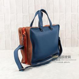 Wholesale discount super value genuine leather weave handbag shoulderbag B bag men s bag Multi color
