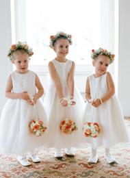 Flower Girls Dresses For Weddings Bow Sash Tea Length Jewel Neck Communion Dresses A-Line Sleeveless Flower Girl Dresses Children