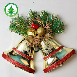 Hei Bao Christmas bells Christmas tree ornaments 13cm double flat bell accessories Cheap wholesale
