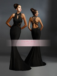 GRaceful Black Lace Formal Evening Dress 2016 Sexy Janique Sheer Backless Pleats Halter Sheer Modern Long Party Runway Celebrity Gown BO9299