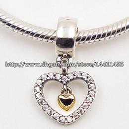 Corazón del oro de la pulsera 925 en venta-925 plata esterlina 14K oro real para siempre en mi corazón cuelgan el encanto del encanto con los brazaletes europeos de las pulseras de la joyería de Pandora de Cz